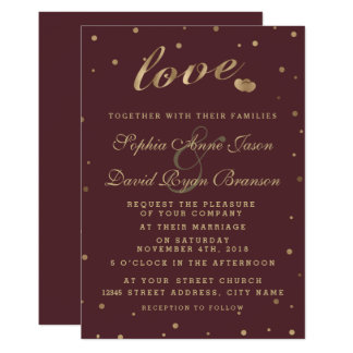Goldconfetti-Liebe-Burgunder-Hochzeit laden ein Karte