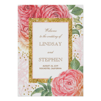 Goldconfetti-rosa Hochzeits-mit Blumenwillkommen Poster