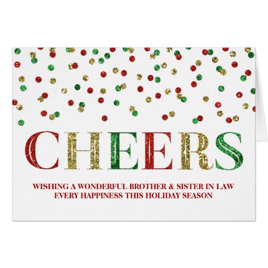 Goldconfetti-Weihnachtsbruder u. -schwägerin Karte