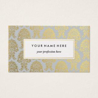 Golddamast auf grauer Muster-Visitenkarte Visitenkarte