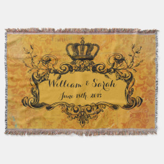 Golddamast-kundenspezifische Hochzeits-königlicher Decke