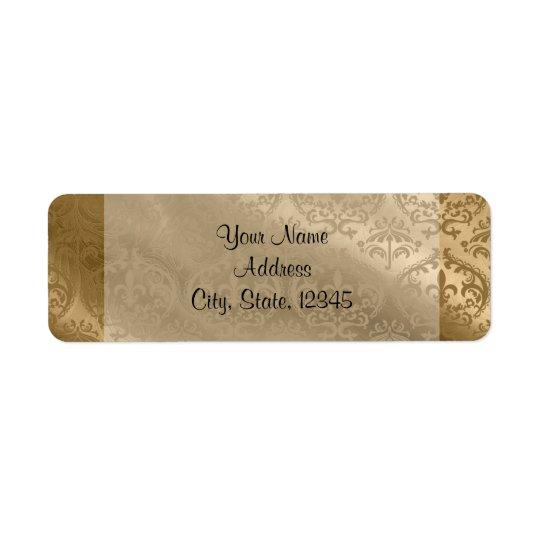Golddamast-Silk vornehmer Hochzeits-Aufkleber Kleiner Adressaufkleber