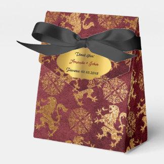Golddanken königliche Burgunde Löwe-Bevorzugung Geschenkschachtel