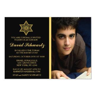 Golddavidsstern Bar Mitzvah Bild-Einladung 12,7 X 17,8 Cm Einladungskarte