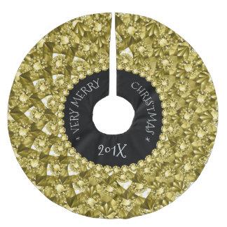 Golddiamant-Glitter-geometrischer Entwurf Polyester Weihnachtsbaumdecke
