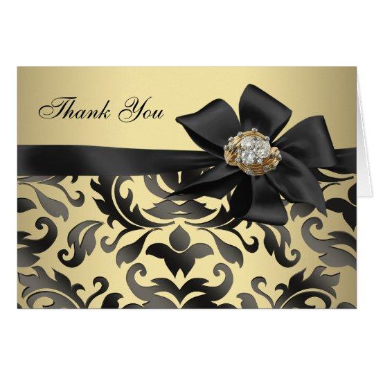 Golddiamant-schwarzer Damast danken Ihnen Karten