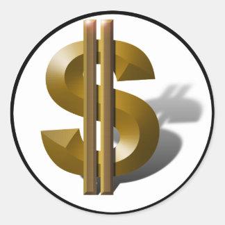 Golddollar-Zeichen Runder Aufkleber