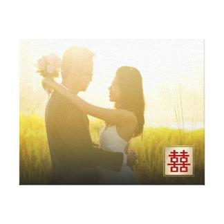 Golddoppeltes Glück-chinesische Leinwanddruck