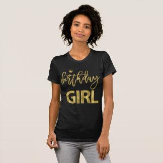 Goldeffekt-Geburtstags-Mädchen-T - Shirts