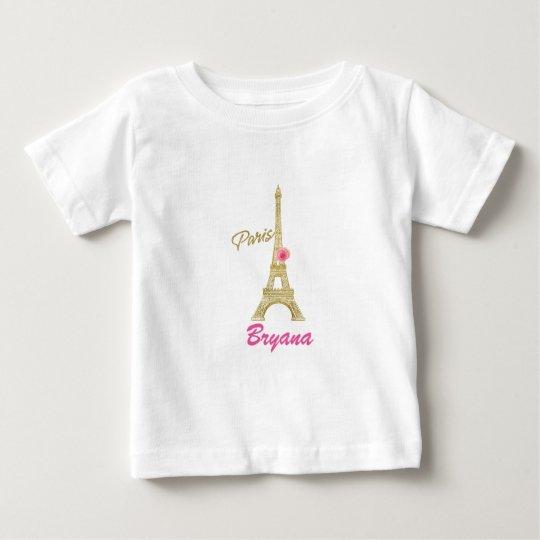 Goldeiffel-Turm Paris u. rosa Rosen-Gewohnheit Baby T-shirt