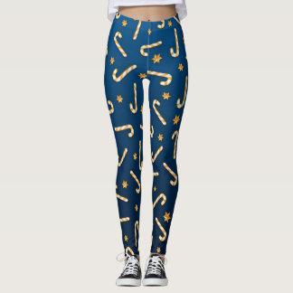 Golden Candycane Blue Leggings
