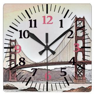 Golden gate bridge - das San Francisco, CA (Rosa) Quadratische Wanduhr
