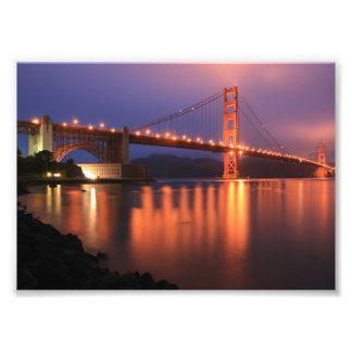 Golden gate bridge nachts photodruck