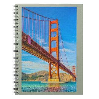 Golden Gate Brücke Foto-Notizbuch (80 Seiten B&W) Spiral Notizblock
