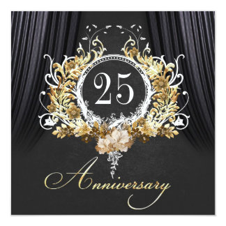 Golden ornaments Anniversary invitation Quadratische 13,3 Cm Einladungskarte