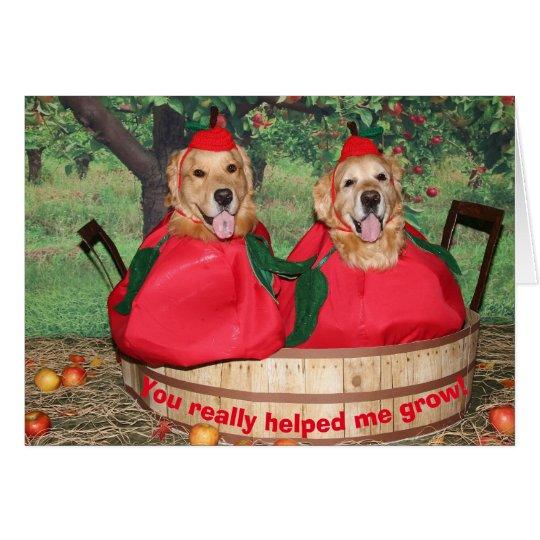 Golden retriever-Apfel-Lehrer danken Ihnen Karte