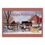 Golden retriever et chevaux de Noël à la ferme Cartes