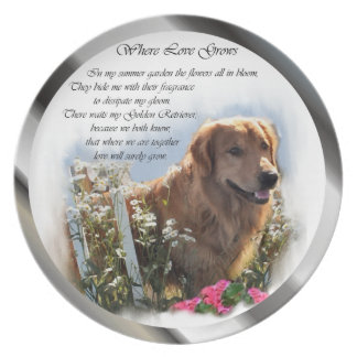 Golden retriever-Sommer-Garten Essteller