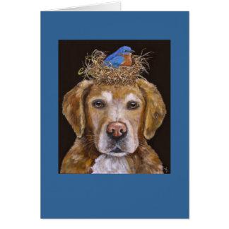 golden retriever und Drosselkarte Karte