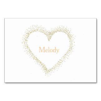 Golden - weiße Herz-Hochzeits-Tabelle/Platzkarte