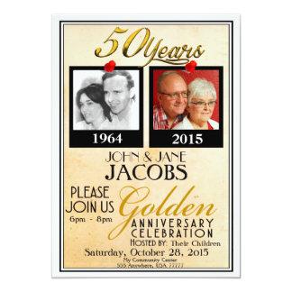 Goldene 50. Hochzeitstag-Einladungen Karte