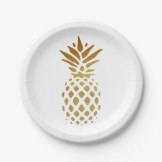 Goldene Ananas, Frucht im Gold Pappteller 17,8 Cm