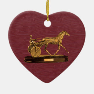 Goldene ANZEIGEN-GESCHENKE: VINTAGES PFERD Keramik Herz-Ornament