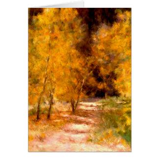 Goldene Baum-künstlerische leere Gruß-Karte Karte