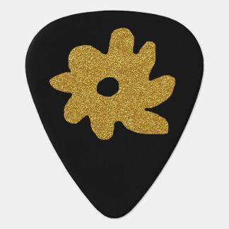 goldene Blume auf dem Schwarzen, personalisiert Plektrum