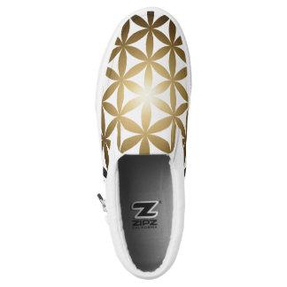Goldene Blume des Lebens macht Reißverschluss zu Slip-On Sneaker