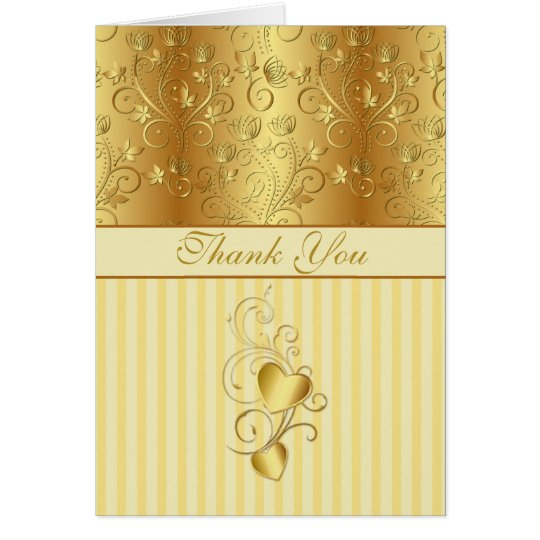 Goldene Blumen, die Wedding Herzen danken Ihnen Grußkarte