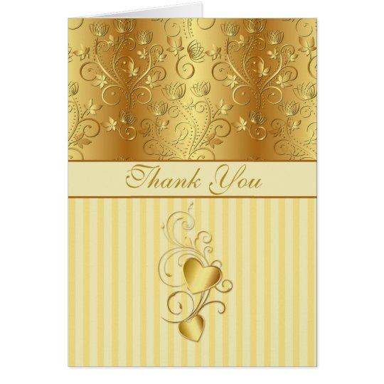 Goldene Blumen, die Wedding Herzen danken Ihnen Karte