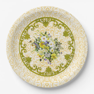 Goldene Blumen-Platte Pappteller