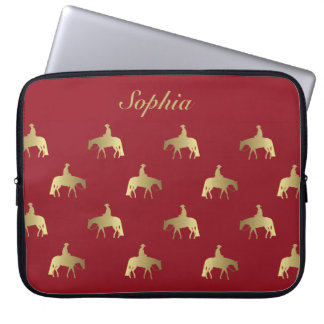 Goldene/Bordeaux-Vergnügens-Pferde Laptop Sleeve