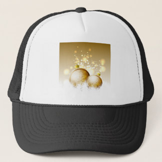 Goldene braune Dekoration des neuen Jahres mit Truckerkappe