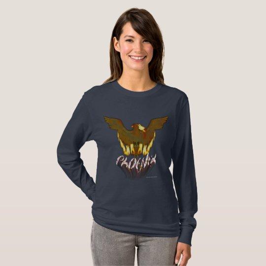 Goldene Damen-langes Hülsen-Shirt Phoenix T-Shirt