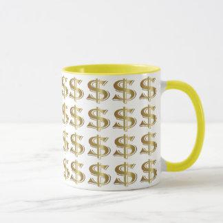 Goldene Dollar-Zeichen-Kaffee-Tasse Tasse