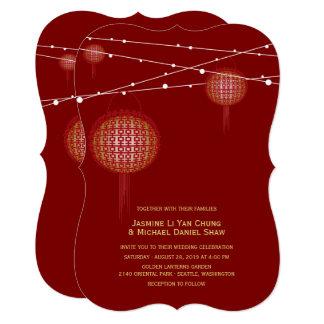 Goldene doppelte Glück-Laternen-chinesische 12,7 X 17,8 Cm Einladungskarte