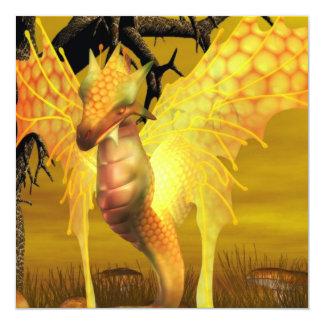 Goldene Drache-Einladungen Quadratische 13,3 Cm Einladungskarte