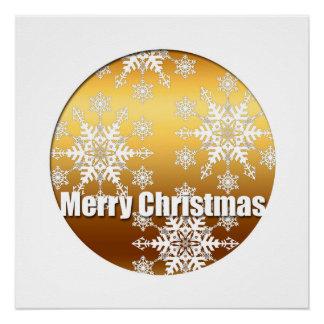 Goldene frohe Weihnacht-Schneeflocken Poster