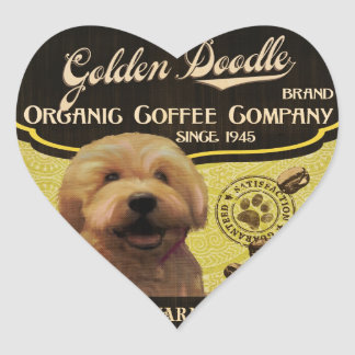 Goldene Gekritzel-Marke - Organic Coffee Company Herz-Aufkleber