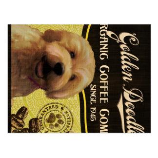 Goldene Gekritzel-Marke - Organic Coffee Company Postkarten