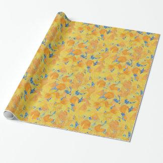 Goldene gelbe Narzissen auf blauem Hintergrund Geschenkpapierrolle