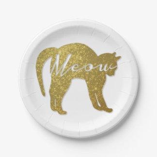 Goldene Glitter-Katze, Meow-Zitat Pappteller