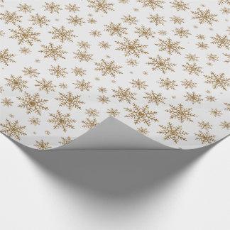 Goldene Glitzer-Schneeflocken Geschenkpapier