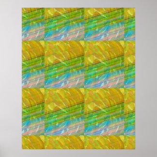 Goldene grüne künstlerische Wellen-Spektrum-Grafik Poster