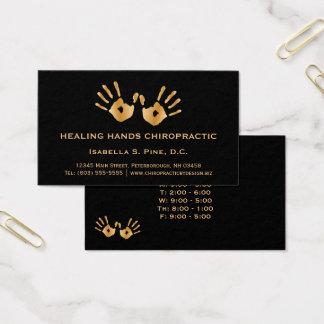 Goldene Hand druckt Bürostunde-Chiropraktor Visitenkarte