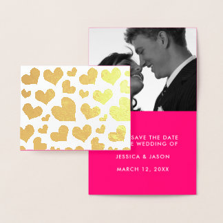 Goldene Herz-Save the Date Foto-Schablone Folienkarte