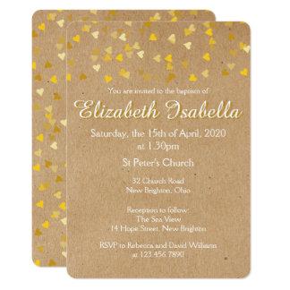 Goldene Herz-Taufe-Taufeinladung 12,7 X 17,8 Cm Einladungskarte