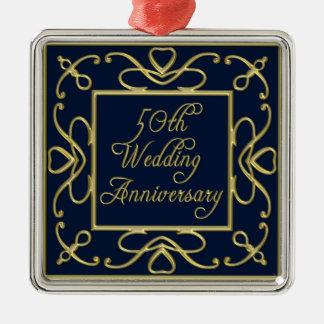Goldene Herzen auf Hochzeitstag des Blau-50. Silbernes Ornament